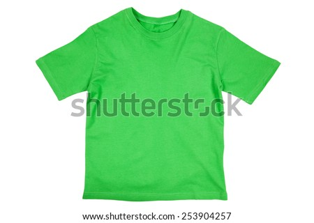 Blank green cotton child's sized tshirt isolated on a white background - stock photo