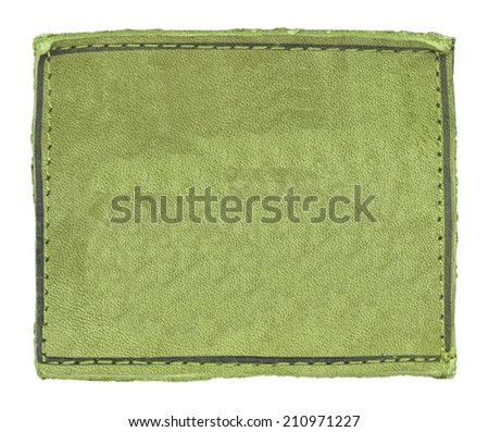 blank green leather jeans label on white - stock photo