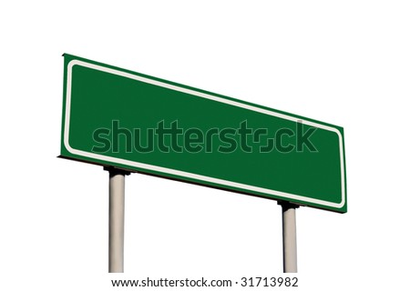 Blank Green Road Name Sign Isolated, Large Detailed Roadside Signage Copy Space Background - stock photo