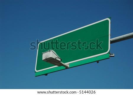blank green traffic sign - stock photo
