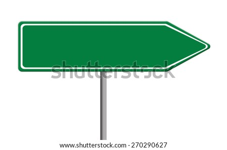 blank green traffic sign template on silver pole, white background - stock photo