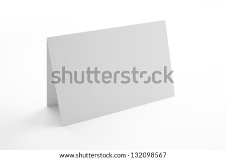 Blank greeting card isolated on white - stock photo