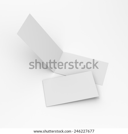 blank greeting cards with two wings isolated on white - stock photo
