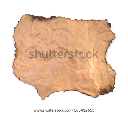 blank grunge burnt paper with dark adust borders - stock photo