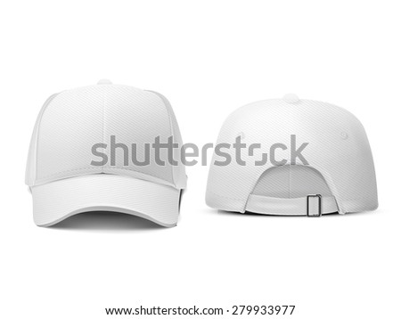 blank hat in white isolated on white background - stock photo