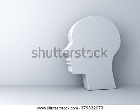 Blank head shape over white background - stock photo