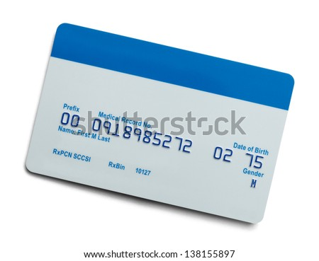 Blank Health Care Medical Insurance Card Isolated On White Background. - stock photo