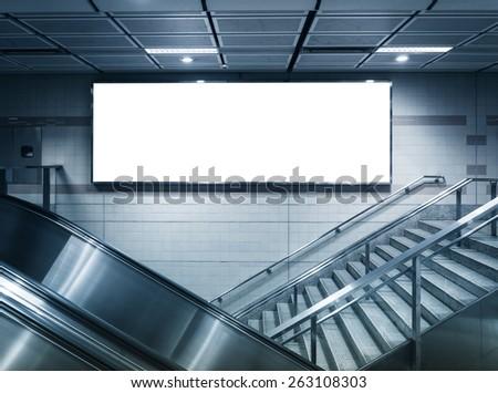 Blank Horizontal big poster in subway station - stock photo