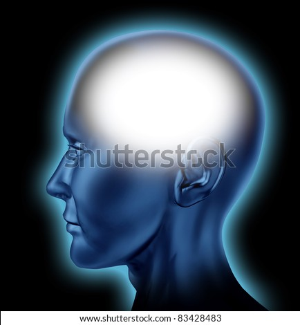 Blank human head with white area for editing representing the concept of thinking and intelligence of the mind. - stock photo