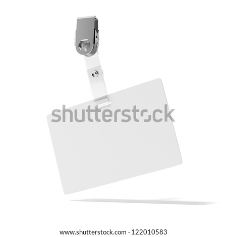 Blank ID Badge isolated on a white background - stock photo