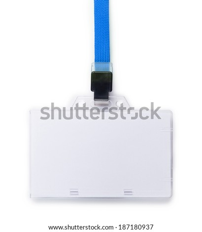 Blank ID or security card with blue neck strap isolated on white. - stock photo