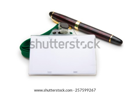 Blank ID or security card with green neck strap , and pen isolated on white. For adding your text of your choice.  - stock photo