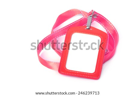 Blank ID or security card with red neck strap - stock photo