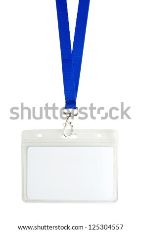 Blank identification card with blue neckband isoleted on white - stock photo
