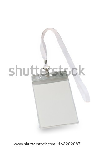 Blank identification card with white neckband isolated on white - stock photo