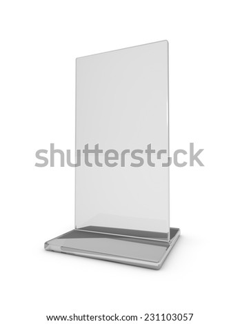 Blank information, magazine and leaflet transparent holder standing on floor. 3d illustration isolated on white. - stock photo