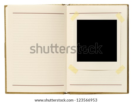 Blank instant photo and notebook - stock photo
