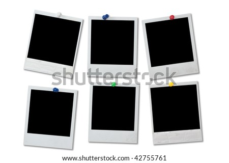 Blank instant photo prints isolated on a white - stock photo