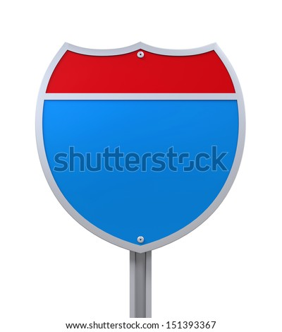 Blank Interstate Road Sign - stock photo