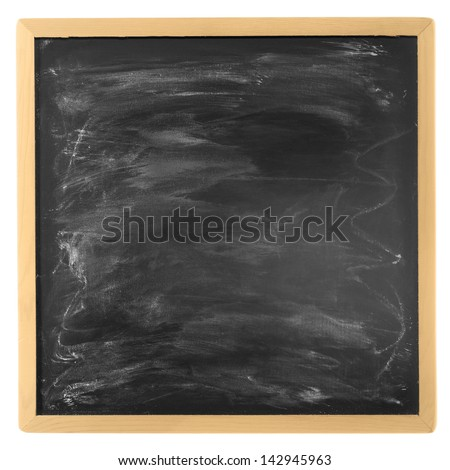 Blank isolated blackboard in a wooden frame - stock photo