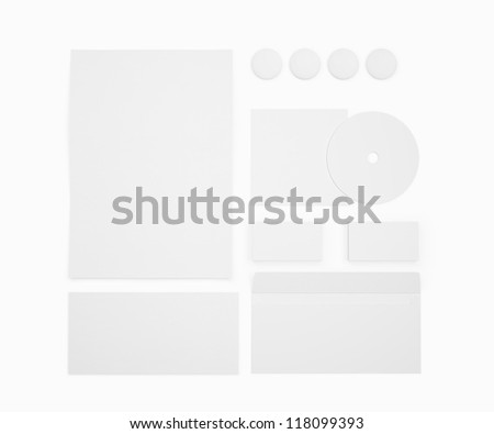 Blank isolated Stationery isolated on white / Stationery  Branding objects - stock photo