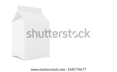 Blank juice or milk package. 3d render on white background - stock photo