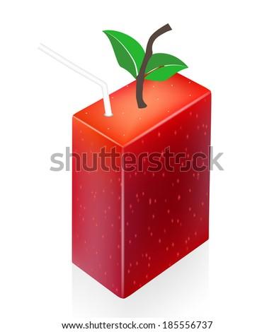 Blank juice pack. Apple juice packaging design.  - stock photo
