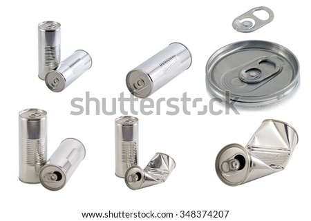 Blank juice, soda or beer can isolated on a white background. - stock photo
