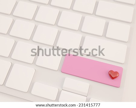 blank key with red heart shape concept - stock photo