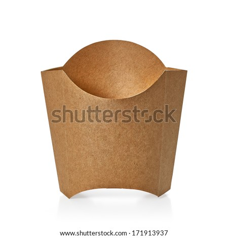 Blank kraft paper fry box including clipping path - stock photo