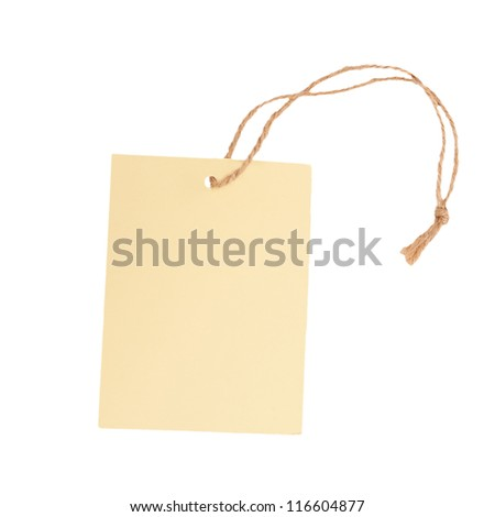 Blank label and string isolated on white background - stock photo