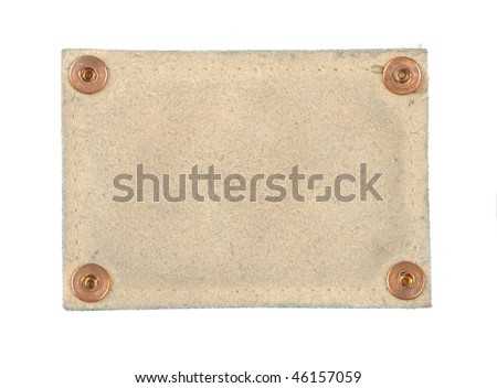 blank label tag jeans fastener clincher isolated with clipping path over white background - stock photo