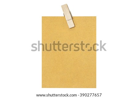 Blank label with wooden clip isolated on white background with clipping path - stock photo