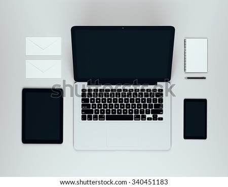 Blank laptop screen with blank digital tablet, smartphone and other accessories, mock up 3D Render - stock photo