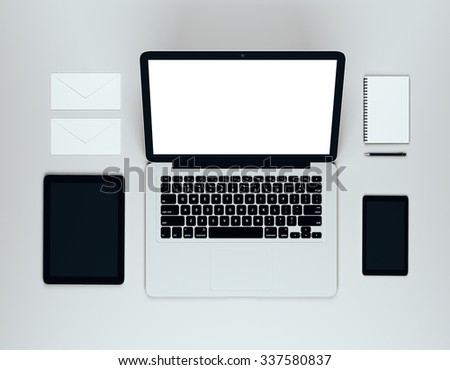 Blank laptopdesktop with blank diary, blank smartphone, blank digital tablet and envelopes, mock up 3D Render - stock photo