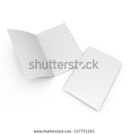 blank leaflet in A4 size isolated on white. render - stock photo