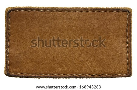 Blank leather jeans label, isolated. - stock photo