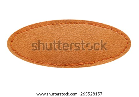 Blank leather label with stitches isolated on white background - stock photo