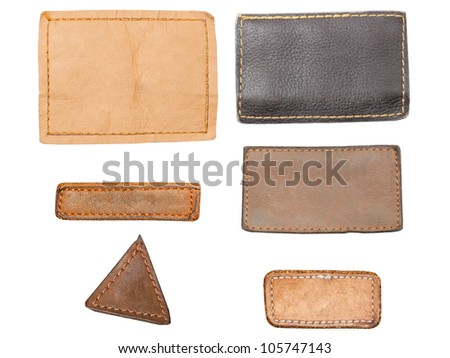 Blank leather, textile jeans labels - stock photo