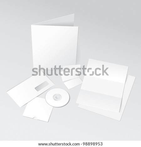 Blank Letter, Envelope, Business Cards, CD and Folder. Design Template for Corporate ID Presentation. Rasterized Version - stock photo