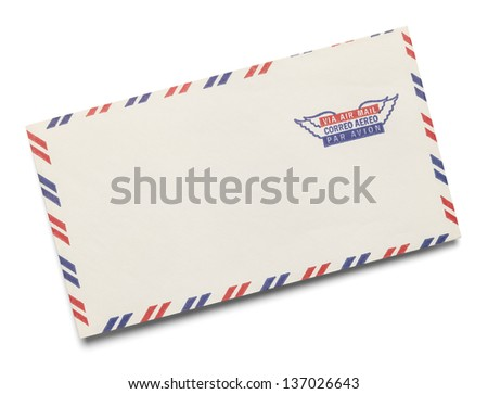 Blank Letter with Via Air Mail stamped on it Isolated on White Background. - stock photo
