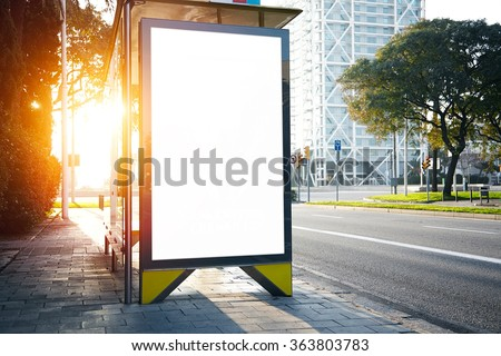 Blank lightbox on the bus stop. Horizontal. Sunlights effects - stock photo