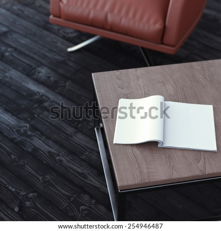 Blank magazine on the table. 3d rendering - stock photo