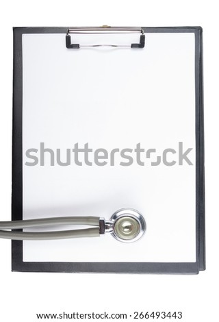 Blank medical clipboard and stethoscope isolated on white background. Concept of Healthcare And Medicine - stock photo