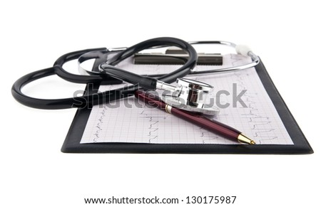 blank medical clipboard with stethoscope on white background - stock photo