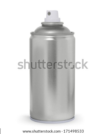 Blank metal spray can, isolated on white background - stock photo