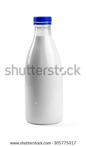 blank milk bottle isolated on white background - stock photo