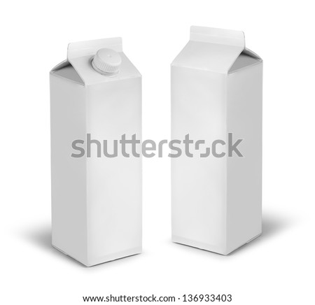 Blank milk or juice carton cans dummy isolated on white - stock photo