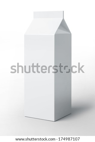 Blank milk pack on a white background. Empty dairy carton or box. - stock photo