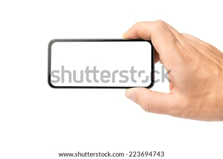 Blank mobile phone in hand - stock photo